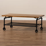 Baxton Studio Tamara Walnut and Black Finished Wheeled Coffee Table