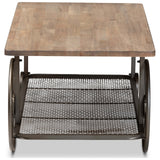Baxton Studio Terence Natural and Black Finished Wheeled Coffee Table