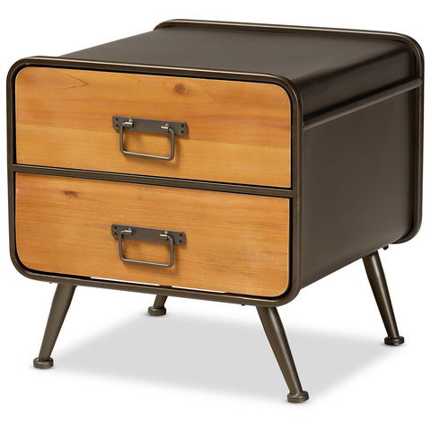 Baxton Studio Kaiya Oak Brown Finished Wood and Black Metal Nightstand