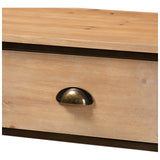 Baxton Studio Abram 2-Drawer Oak and Black Finished Kitchen Storage Cabinet