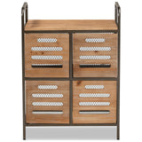 Baxton Studio Aila Oak and Black Finished Multipurpose Kitchen Storage Cabinet