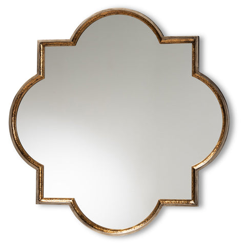 Baxton Studio Tiana Bronze and Gold Quatrefoil Accent Wall Mirror