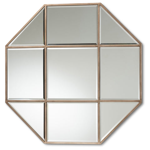 Baxton Studio Enora Antique Bronze Finished Metal Geometric Accent Wall Mirror