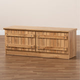 Baxton Studio Oswald Natural Oak Brown Finished Wood 2-Door Storage Bench