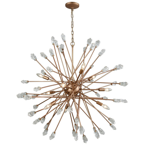 Serendipity 9-Light Chandelier in Matte Gold With Clear Bubble Glass