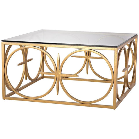 Amal Coffee Table in Antique Gold Leaf