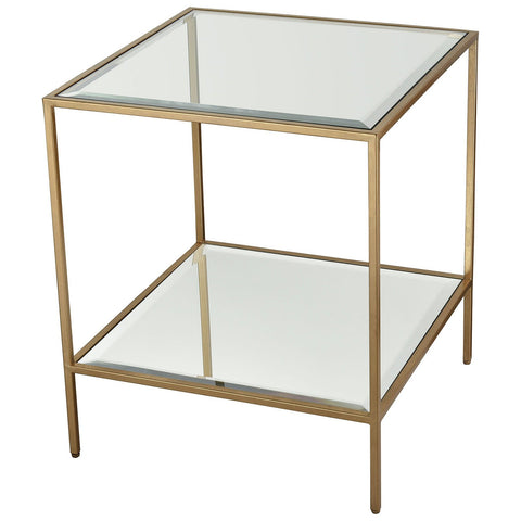 Scotch Mist Side Table in Gold Leaf with Clear Glass and Mirror