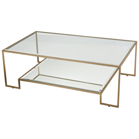 Scotch Mist Coffee Table in Gold Leaf with Clear Glass and Mirror