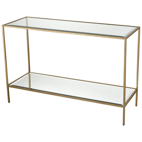 Scotch Mist Console Table in Gold Leaf with Clear Glass and Mirror