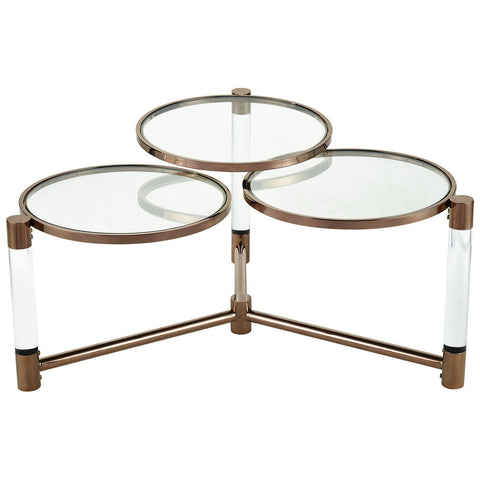 Triple Crown Clear Acrylic Coffee Table with Cafe Bronze Plated Stainless Steel
