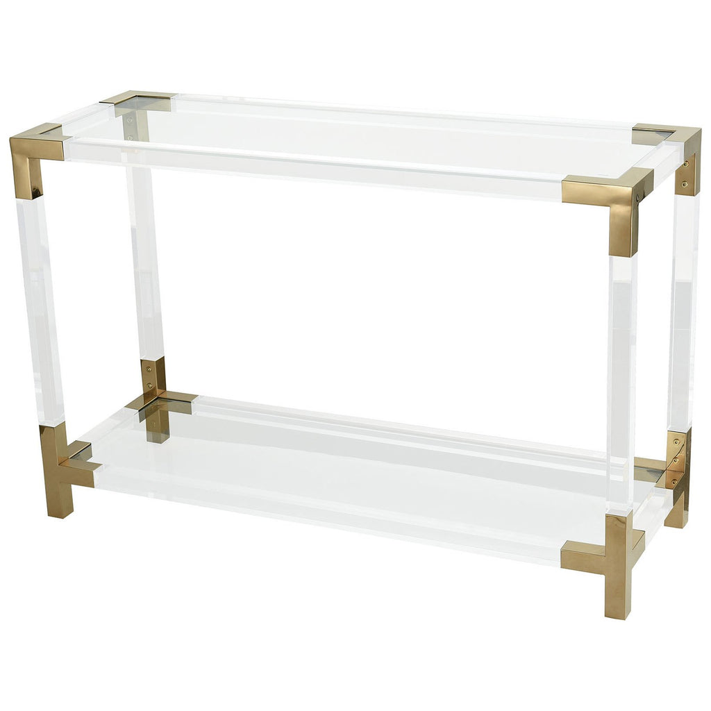 Equity Console Table in Clear Acrylic with Gold Plated Stainless Steel