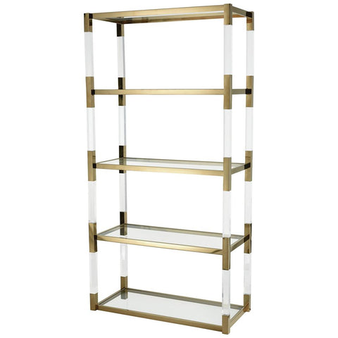 Equity Shelf in Clear Acrylic with Gold Plated Stainless Steel