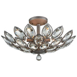 La Crescita 6-Light Semi Flush in Weathered Zinc with Clear Crystal