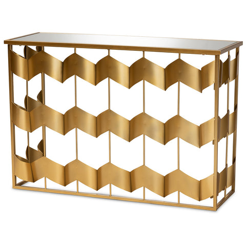 Baxton Studio Vega Gold Metal and Mirrored Glass Geometric Console Table