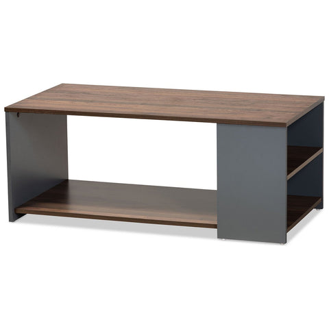 Baxton Studio Thornton Two-Tone Walnut Brown and Grey Storage Coffee Table