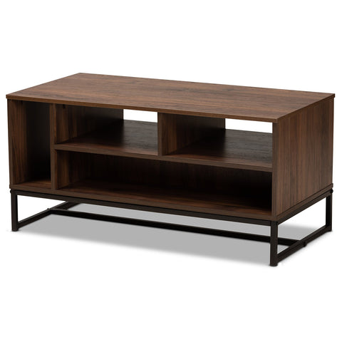 Baxton Studio Flannery Walnut Brown and Black Coffee Table