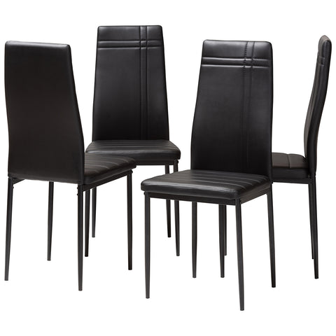 Baxton Studio Matiese Modern Faux Leather Upholstered Dining Chair, Set of 4