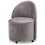 Baxton Studio Bethel Fabric Upholstered Rolling Accent Chair