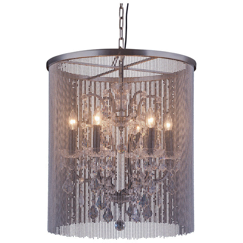 Brooklyn 6-Light Matte Black Chandelier with Clear Royal Cut Crystal