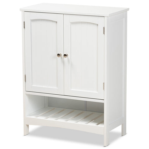 Baxton Studio Jaela White Wood 2-Door Bathroom Storage Cabinet