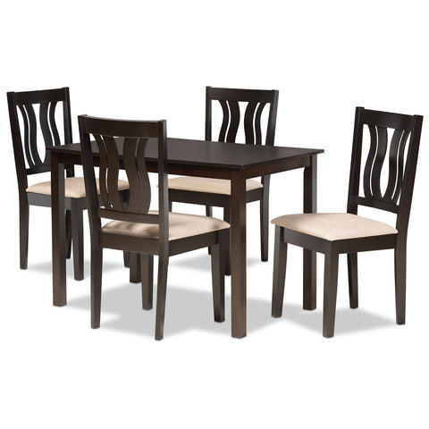 Baxton Studio Fenton Sand Fabric 5-Piece Dining Set