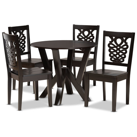 Baxton Studio Valda Dark Brown 5-Piece Dining Set