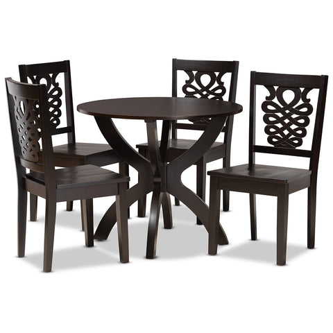 Baxton Studio Wanda Dark Brown 5-Piece Dining Set