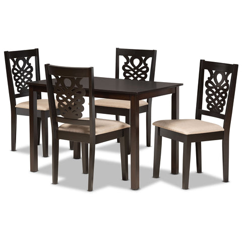 Baxton Studio Gervais Sand Fabric 5-Piece Dining Set