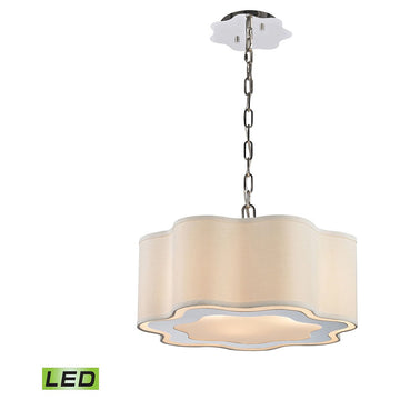 Villoy 3-Light LED Drum Pendant in Polished Stainless Steel And Nickel