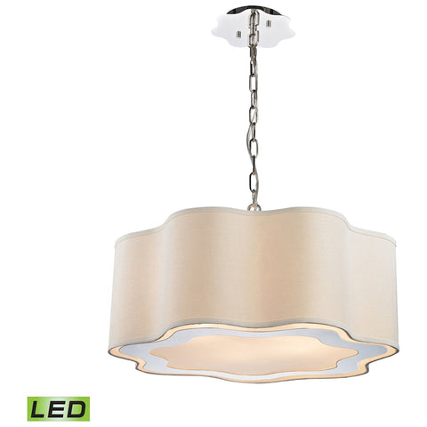Villoy 6-Light LED Drum Pendant in Polished Stainless Steel And Nickel