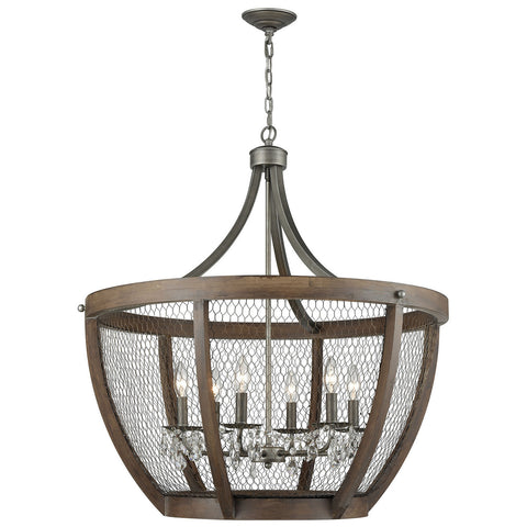 Renaissance Invention Wide Basket Pendant Light in Weathered Zinc