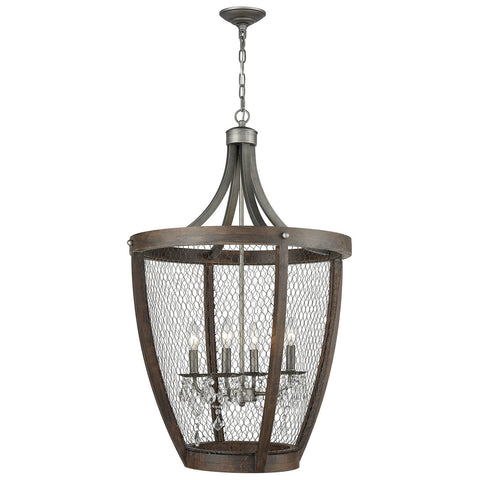 Renaissance Invention Long Basket Pendant Light in Weathered Zinc
