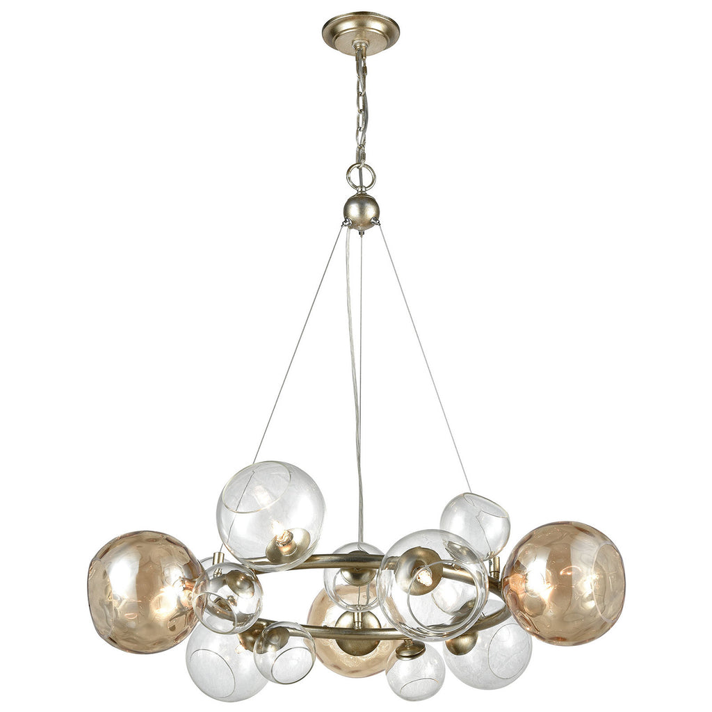 Bubbles Pendant Light in Silver Leaf and Champagne