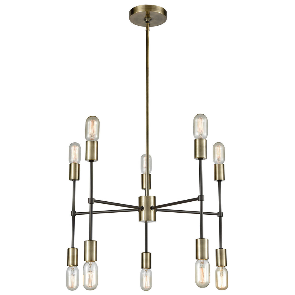 Up Down Century 10-Light Chandelier in Antique Brass and Oil Rubbed Bronze