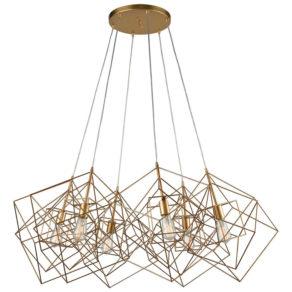 Box Pendant Light Cluster in Gold Leaf