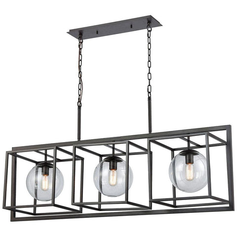 Beam Cage 3-Light Linear Chandelier in Oil Rubbed Bronze with Clear Glass