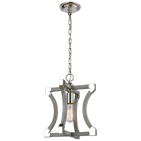 Mies Small Pendant in Gray and Polished Nickel