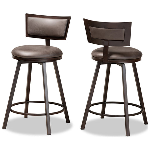 Baxton Studio Danson Fabric Upholstered and Metal 2-Piece Pub Chair Set