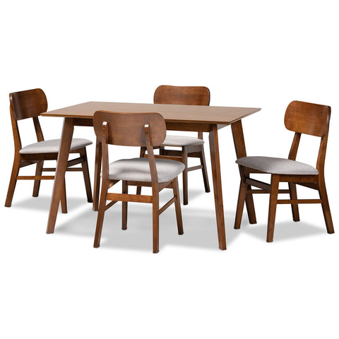 Baxton Studio Euclid Fabric Upholstered and Wood 5-Piece Dining Set