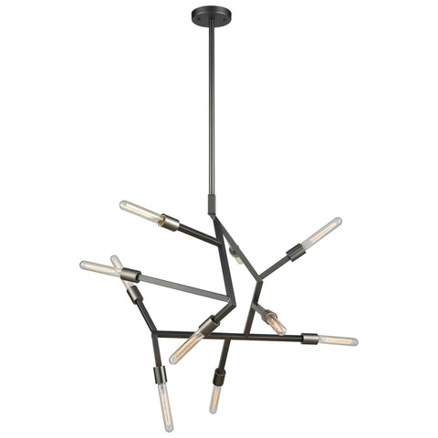 Freeform 10-Light Chandelier in Aged Black Nickel
