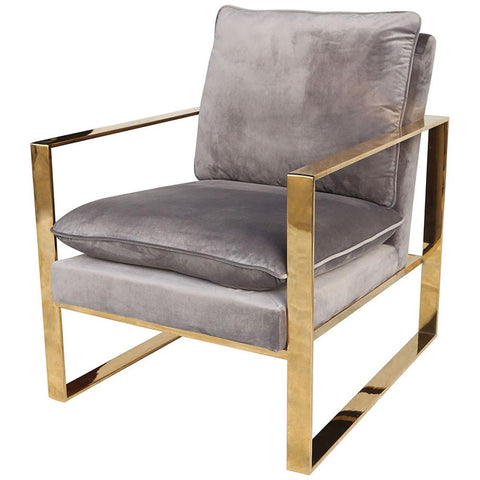 Old Sport Gold Plated Stainless Steel and Foam Grey Velvet Armchair