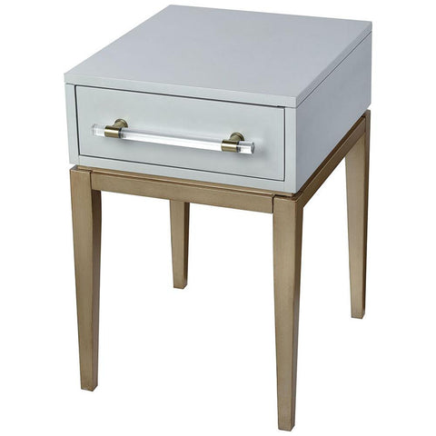 Girl Friday Accent Table in Light Grey and Gold with Clear Acrylic Hardware