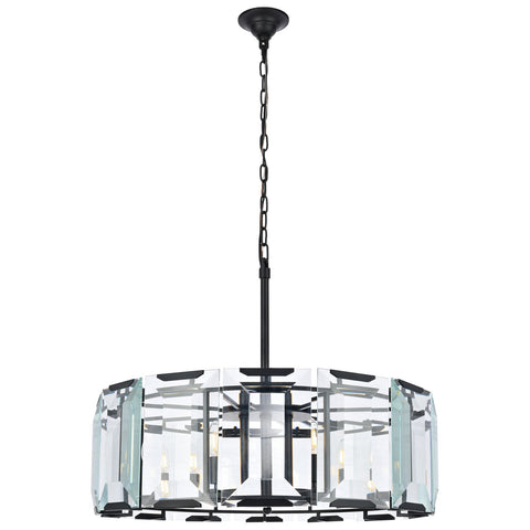 Monaco 8-Light Flat Black (Matte) Chandelier with Clear Glass Crystal