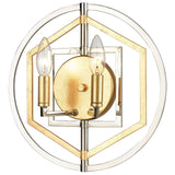 Geosphere 2-Light Sconce in Polished Nickel and Parisian Gold Leaf