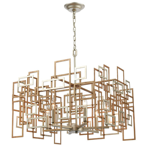 Gridlock 6-Light Chandelier in Matte Gold and Aged Silver