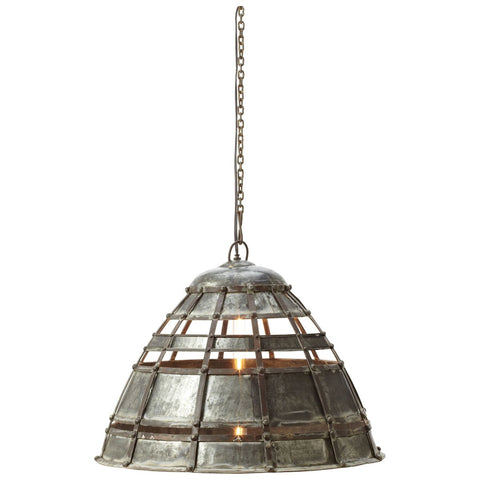 Colossal Fortress Pendant Lamp in Distressed Silver