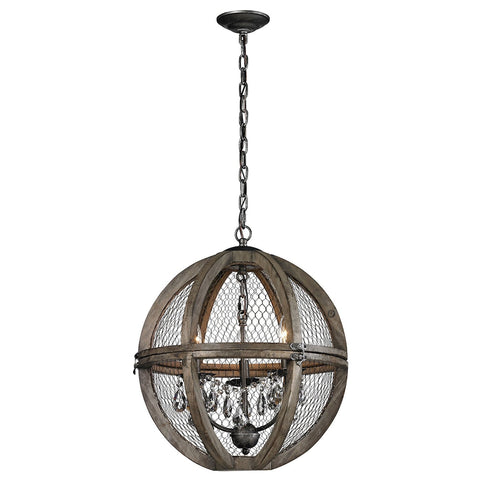 Renaissance Invention 3-Light Chandelier in Aged Wood and Wire - Round