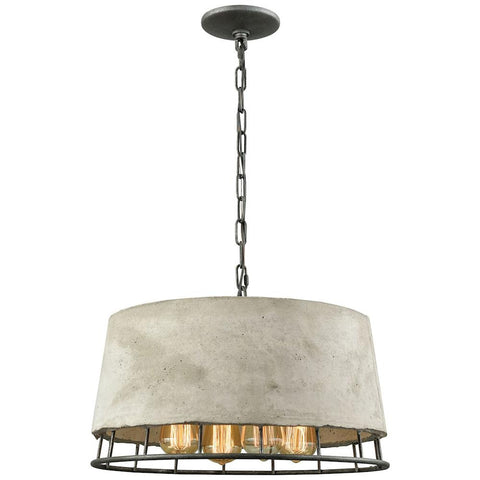 Brocca 4-Light Chandelier in Silverdust Iron with Concrete Shade