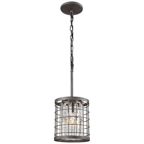 Nadina 1-Light Pendant in Silverdust Iron with Clear Crystal
