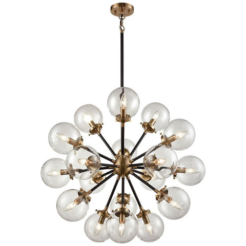 Boudreaux 18-Light Chandelier in Matte Black and Antique Gold